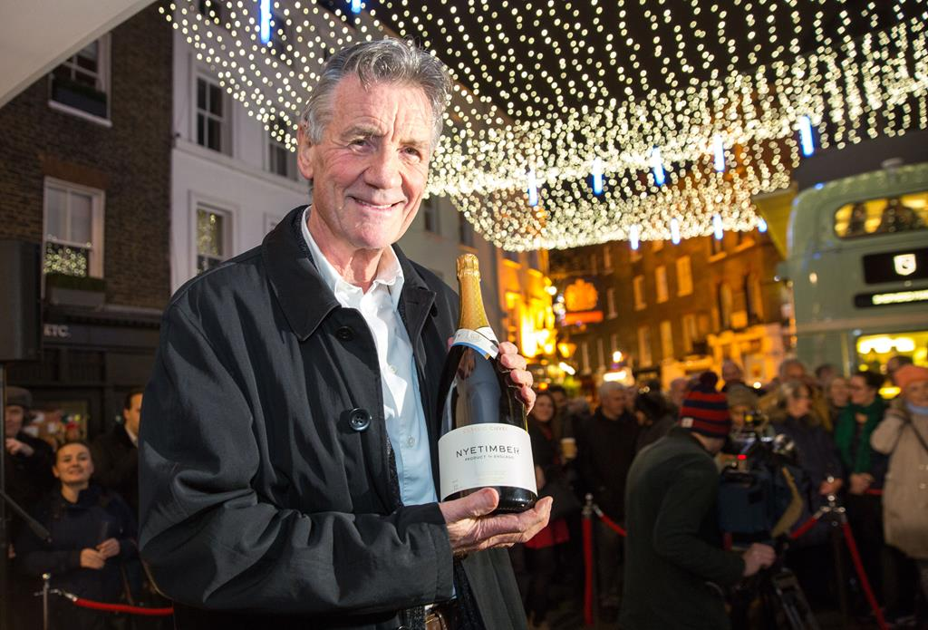 a man holding a bottle of wine, in front of a crowd of spectators, under christmas lights