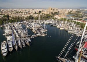 aerial shot of a harbour in palma on a sunny day