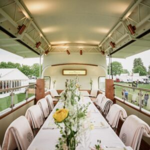 open top bus dining table decorated with flowers