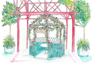 floral outdoor bird cage inside floral pergola