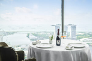 dining table with a city view from skyscraper
