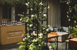 terrace wine bar, crawling flowers