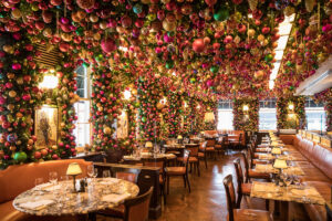 restaurant decorated with baubles