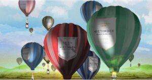 hot air balloons over horizon